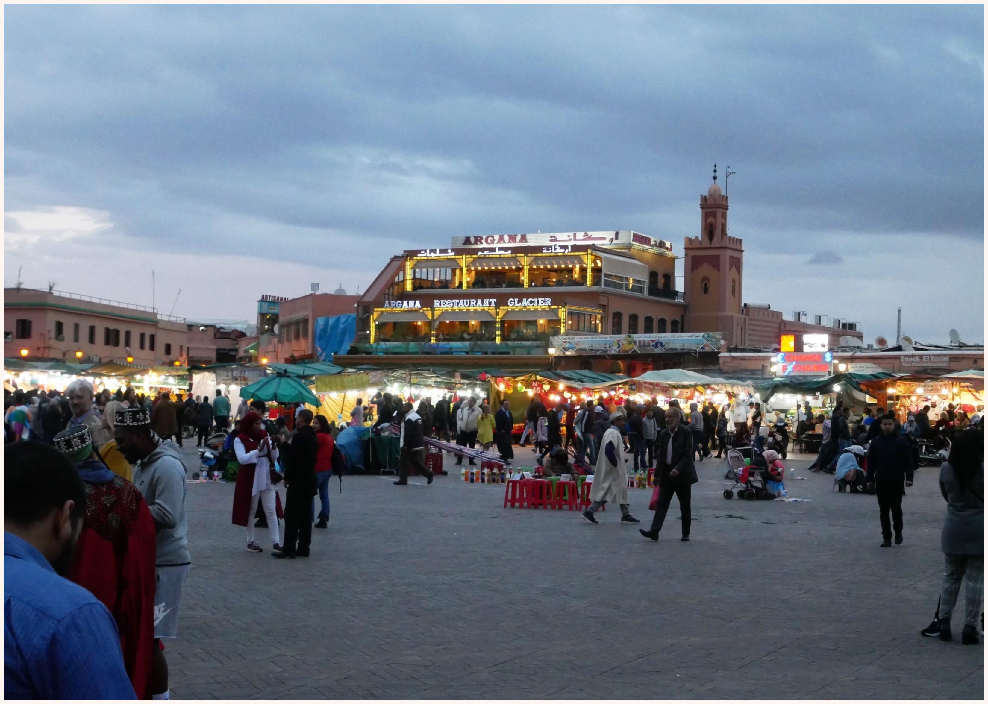 黃昏的 Jemaa el-Fna 廣場