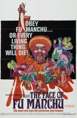 Theatrical release poster by Mitchell Hooks for 1965 film The Face of Fu Manchu 引自英文wiki 傅滿洲