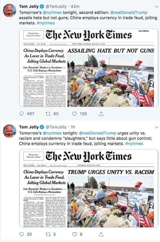 紐約時報六日頭版對於川普談話的標題前後不同。摘自Tom Jolly 的twitter