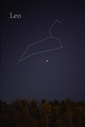 獅子座,可以被肉眼看到(帶星座線繪製)。 AlltheSky.com 引用自 wiki 獅子座