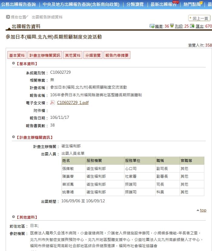衛生福利部已經去過日本九州福岡縣參訪 翻攝 出國報告資料網站