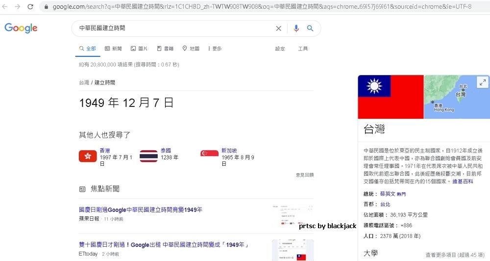 Google說中華民國建立時間為1949年12月7日 翻攝google