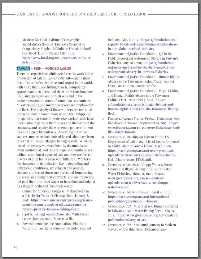 翻攝 2020 LIST OF GOODS PRODUCED BY CHILD LABOR OR FORCED LABOR