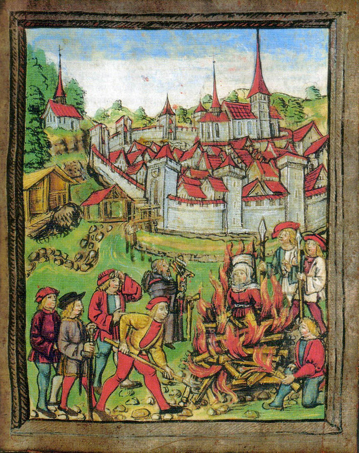 獵巫,引自wiki,The burning of a woman in Willisau, Switzerland, 1447