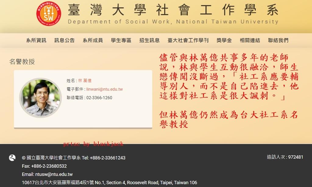 林萬億是台大社工系名譽教授 翻攝台大社工網站